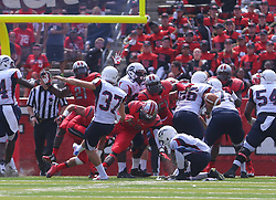 Sep 6, 2014; Piscataway, NJ, USA; Howard Bison punter John Fleck (37) has a kick blocked during the first half at High Points Solutions Stadium.