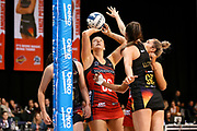 Tactix goal shoot Ellie Bird shoots under pressure from Magic goal keep Kate Lloyd during the ANZ Premiership netball match - Magic v Tactix played at Claudelands Arena, Hamilton, New Zealand on 30 July 2018.<br /> <br /> Copyright photo: &copy; Bruce Lim / www.photosport.nz