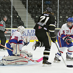 COBOURG, ON - Oct 21 : Ontario Junior Hockey League Game Action between Cobourg Cougars Hockey Club & Toronto Junior Canadians Hockey Club, Nathaniel Colitto #30 of the Toronto Canadiens Hockey Club makes the save<br /> (Photo by Dave Powers / OJHL Images)