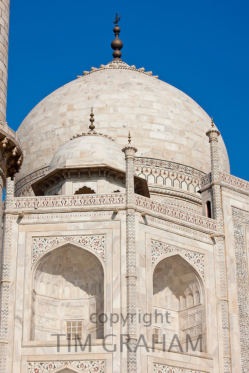 Iwans of The Taj Mahal mausoleum, southern view detail diamond facets with bas relief marble, Uttar Pradesh, India
