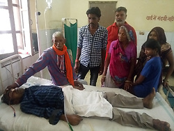 "EXCLUSIVE: By Sudipto Maity in India An Indian man complaining of stomach ache had over 100 iron nails removed from his intestine by doctors. The operation took place on Monday in the country's north west Rajasthan state. Reports said 42-year-old Bhola Shankar had reached the government hospital in Bundi town , complaining of excruciating pain. However, it was after conducting the initial tests that doctors were left baffled. X-ray of the patient showed a cluster of a rather unusual item in the man's stomach. A CT scan confirmed the suspicion. Operating on the patient, a team of surgeons, led by Dr Anil Saini, recovered and removed at least 116 iron nails. The team also shot a video of the operation, which showed nails being extracted from the intestine of the patient. Saini said, ""This is the first such case I have come across,"" The doctor added it may be the first time something like this took place in Rajasthan. In 2017, doctors had removed at least 150 stationary pins from a patient's stomach in the same town. ""What surprised us was the length of the nails. They measured 6.5 centimetres. To have such big iron nails removed from a patient's body is unprecedented,"" the senior doctor added. He also called it a bizarre case. Meanwhile, doctors have deemed the patient mentally imbalanced. ""The patient is not able to narrate how the nails ended up in his intestine,"" Saini said, adding, ""He is lucky the sharp objects did not puncture his organs, else, it could have proved fatal."" The patient's younger brother said the former has been taking medicine for mental illness for the last two and half decades. However, he too couldn't explain how the nails ended up there. Doctors believe the man was in the habit of swallowing sharp objects as apart from the nails, doctors also extracted metal wires. Despite the lengthy operation, the patient was recovering well. 13 May 2019 Pictured: Family members pay a visit to Patient Bhola Shankar recovering at a state-run hospital in Bund"