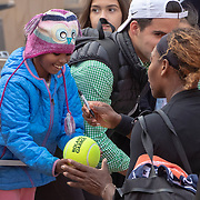 PARIS, FRANCE May 27.  Serena Williams of the United States signs autographs after her win against Vitalia Diatchenko of Russia on Court Philippe-Chatrier in the Women's Singles first round match at the 2019 French Open Tennis Tournament at Roland Garros on May 27th 2019 in Paris, France. (Photo by Tim Clayton/Corbis via Getty Images)