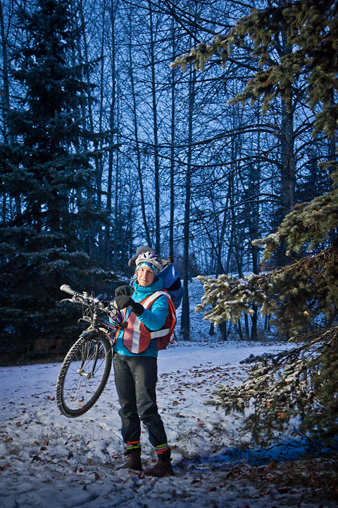 Alaska State Parks Deputy Director, Claire LaClair, with her bicycle on the Tony Knowles Coastal Trail, Anchorage
