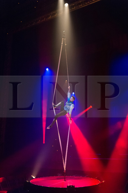 © Licensed to London News Pictures. 27/11/2017. London, UK. LJ Marles on his unique Tension Straps performs in the La Soiree photocall at the Aldwych Theatre. The Olivier award winning company show runs 24 November 2017 – 3 February 2018. Photo credit: Ray Tang/LNP