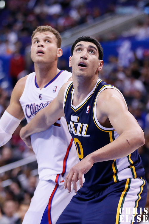 23 October 2013: Utah Jazz center Enes Kanter (0) vies for the rebound with Los Angeles Clippers power forward Blake Griffin (32) during the Los Angeles Clippers 103-99 victory over the Utah Jazz at the Staples Center, Los Angeles, California, USA.