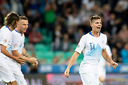 Miha Zajc of Slovenia celebrates goal during football match between National teams of Slovenia and Bulgaria in Group stage of UEFA National League, on September 6, 2018 in SRC Stozice, Ljubljana, Slovenia. Photo by Urban Urbanc / Sportida