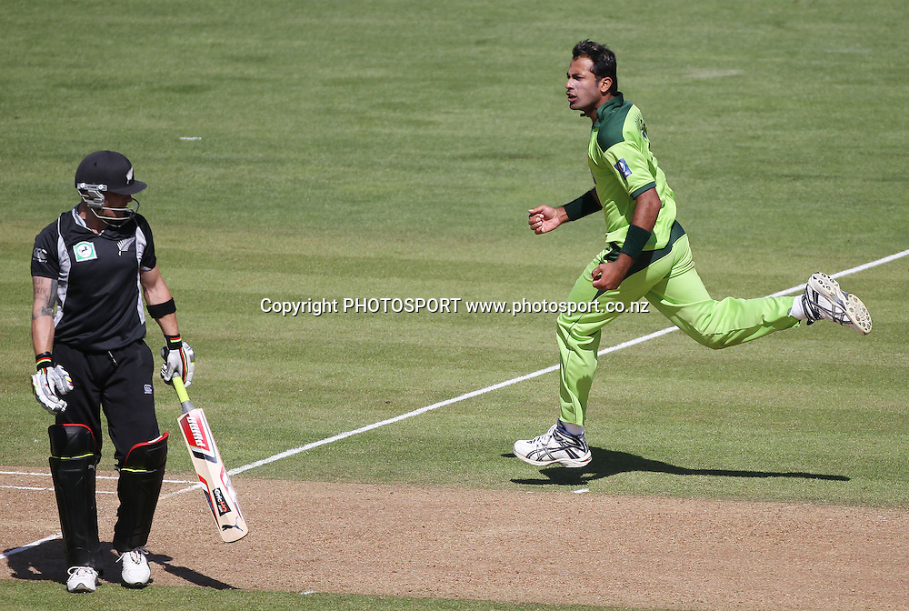 Pakistan bowler Wahab Riaz celebrates the wicket of Brendon McCullum during the 4th ODI, Black Caps v Pakistan, One Day International Cricket. McLean Park, Napier, New Zealand. Tuesday 1 February 2011. Photo: Andrew Cornaga/photosport.co.nz