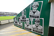 Past players on the fans entrance walls inside Home Park Stadium before the EFL Sky Bet League 1 match between Plymouth Argyle and Accrington Stanley at Home Park, Plymouth, England on 22 December 2018.