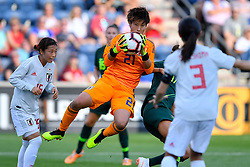 August 2, 2018 - Bridgeview, IL, U.S. - BRIDGEVIEW, IL - AUGUST 02: Japan goalkeeper Chika Hirao (21) makes a save against Australia during the 2018 Tournament Of Nations at Toyota Park on August 2, 2018 in Bridgeview, Illinois (Photo by Quinn Harris/Icon Sportswire) (Credit Image: © Quinn Harris/Icon SMI via ZUMA Press)