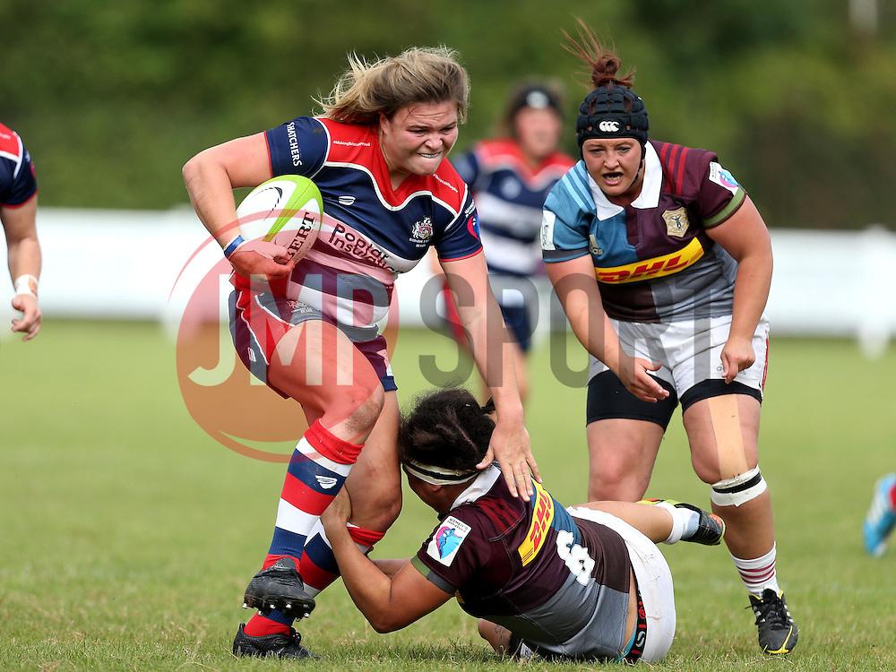 Sarah Bern of Bristol Ladies runs through a tackle - Mandatory by-line: Robbie Stephenson/JMP - 18/09/2016 - RUGBY - Cleve RFC - Bristol, England - Bristol Ladies Rugby v Aylesford Bulls Ladies - RFU Women's Premiership