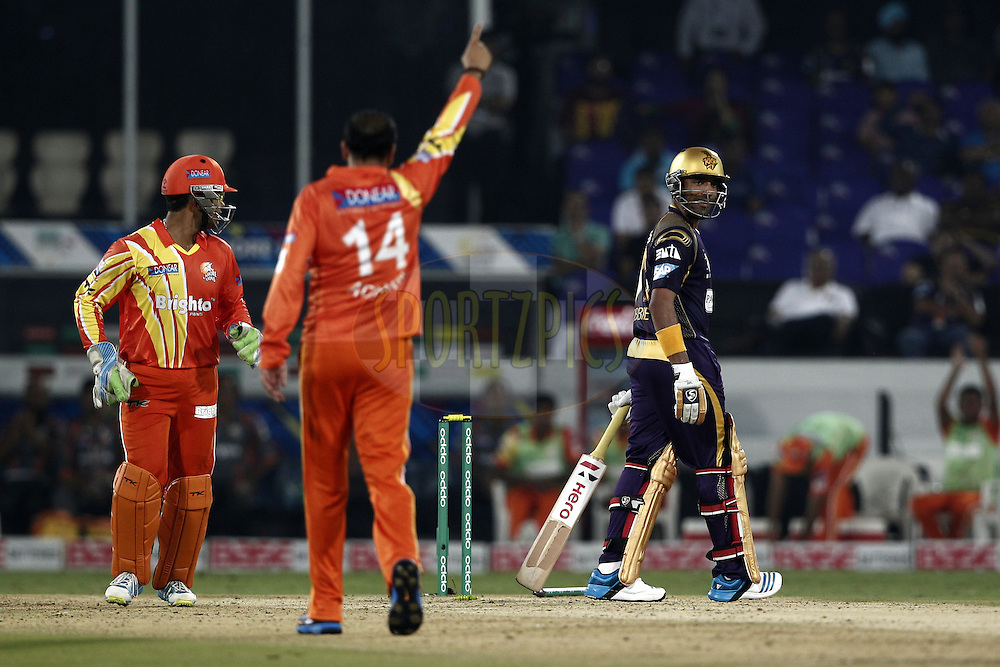 Adnan Rasool of the LAHORE LIONS celebrates the wicket of  Robin Uthappa of the Kolkata Knight Riders during match 7 of the Oppo Champions League Twenty20 between the Kolkata Knight Riders and the Lahore Lions held at the Rajiv Gandhi Cricket Stadium, Hyderabad, India on the 21st September 2014<br /> <br /> Photo by:  Deepak Malik / Sportzpics/ CLT20<br /> <br /> <br /> Image use is subject to the terms and conditions as laid out by the BCCI/ CLT20.  The terms and conditions can be downloaded here:<br /> <br /> http://sportzpics.photoshelter.com/gallery/CLT20-Image-Terms-and-Conditions-2014/G0000IfNJn535VPU/C0000QhhKadWcjYs