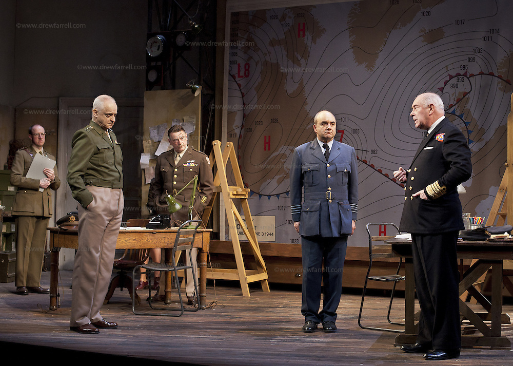 The Lyceum present the World Premiere of Pressure<br /> By David Haig<br /> <br /> Picture shows :(l-r)<br />  Anthony Bowers, Malcolm Sinclair ( General Dwight D &ldquo;Ike&rdquo; Eisenhower),  Gilly Gilchrist  David Haig ( Stagg), Michael Mackenzie.<br /> <br /> <br /> Picture : Drew Farrell<br /> Tel : 07721 -735041<br /> www.drewfarrell.com<br /> 