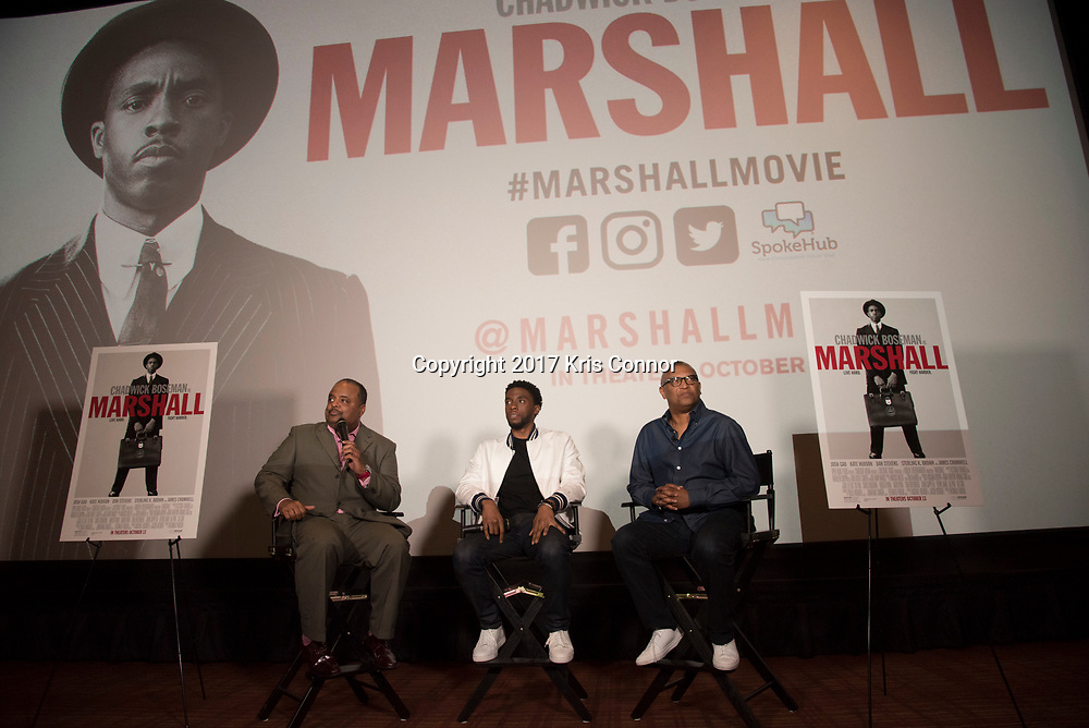 oland Martin interviews Actor Chadwick Boseman and Director Reginald Hudlin during a Q&A session after a screening of Open Road Films' new movie MARSHALL at in Baltimore, Md. on July 25th, 2017. (Photo by Kris Connor/Open Road Films)
