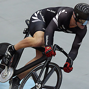 Simon Van Vel Thooven, New Zealand, in action during the Men's Keirin event at the 2012 Oceania WHK Track Cycling Championships, Invercargill, New Zealand. 21st November 2011. Photo Tim Clayton