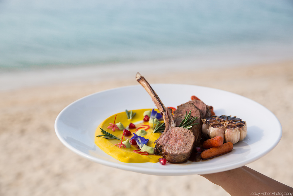 Fusion cuisine served at Sea and Sky beach front restaurant located on Ban Tai beach, Koh Samui, Thailand
