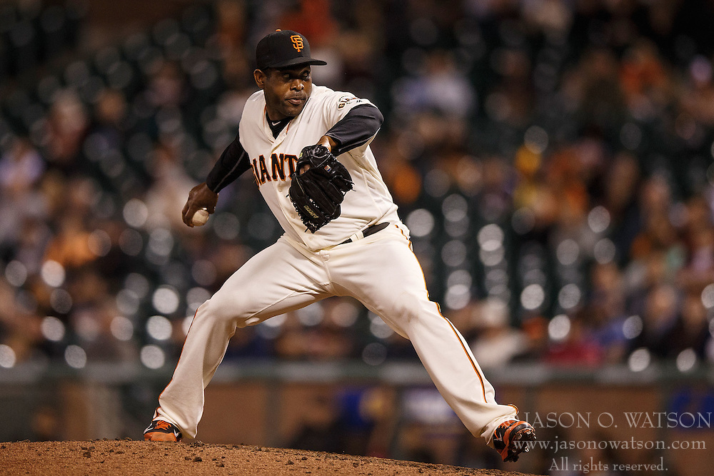 SAN FRANCISCO, CA - APRIL 18: Santiago Casilla #46 of the San Francisco Giants pitches against the Arizona Diamondbacks during the ninth inning at AT&T Park on April 18, 2016 in San Francisco, California. The Arizona Diamondbacks defeated the San Francisco Giants 9-7 in 11 innings.  (Photo by Jason O. Watson/Getty Images) *** Local Caption *** Santiago Casilla