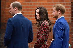 © Licensed to London News Pictures. 19/12/2016. London, UK. CATHERINE, DUHESS OF CAMBRIDGE, PRINCE WILLIAM and PRINCE HARRY arrive at Harrow Club in West London to attend a volunteer Christmas Party for youth helpline, The MIx.  Photo credit: Ben Cawthra/LNP