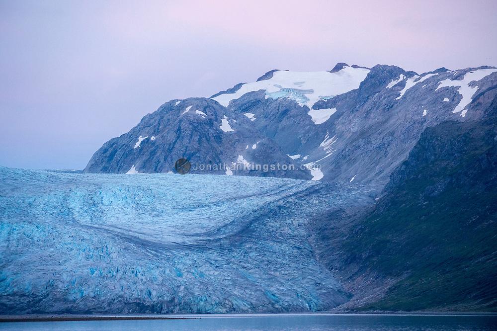 Pre-dawn light on the Reid glacier, Glacier Bay National Park, Alaska.