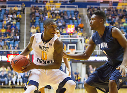 Nov 20, 2016; Morgantown, WV, USA; West Virginia Mountaineers guard Teyvon Myers (0) drives to the lane during the second half against the New Hampshire Wildcats at WVU Coliseum. Mandatory Credit: Ben Queen-USA TODAY Sports