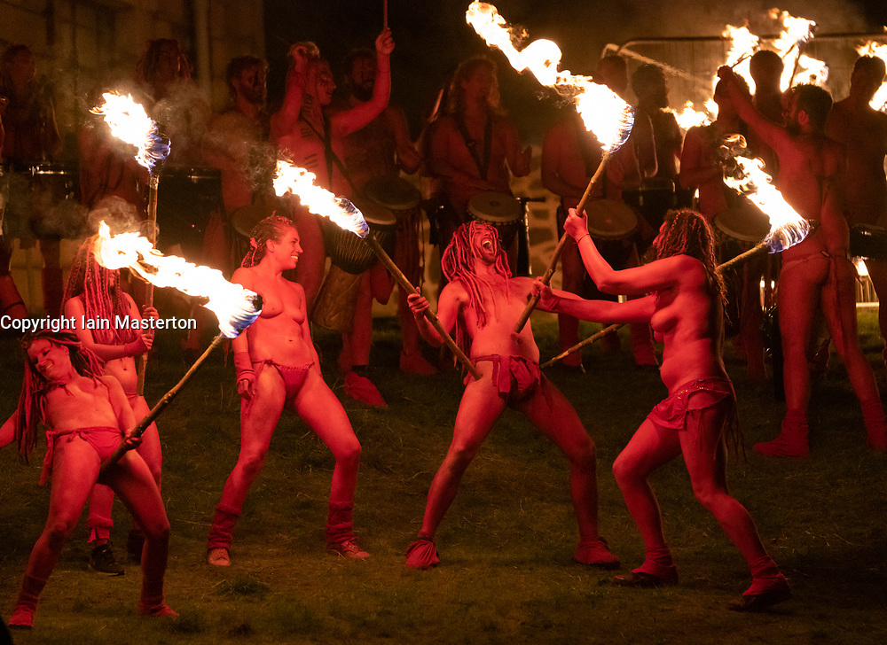 "Edinburgh, Scotland, UK. 30 April, 2019. Beltane Fire Festival ushers in summer on Tuesday 30th April with a spectacular display of fire, immersive theatre, drumming, body paint, and elaborate costumes. Described by some as the ""medieval Burning Man"", this alternative May Day celebration re-imagines the ancient Celtic festival with roughly 300 volunteer performers for thousands of spectators from all over the world on top of Calton Hill in Edinburgh<br /> <br /> <br /> WHEN"