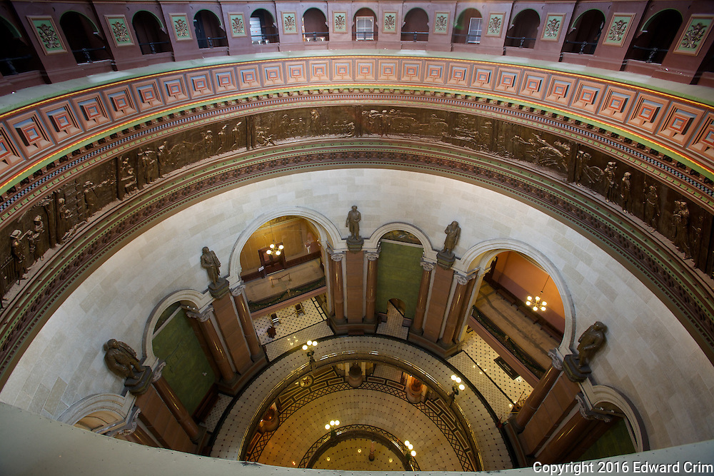 Looking down from the gallery at the top of the inner dome of the Illinois capitol