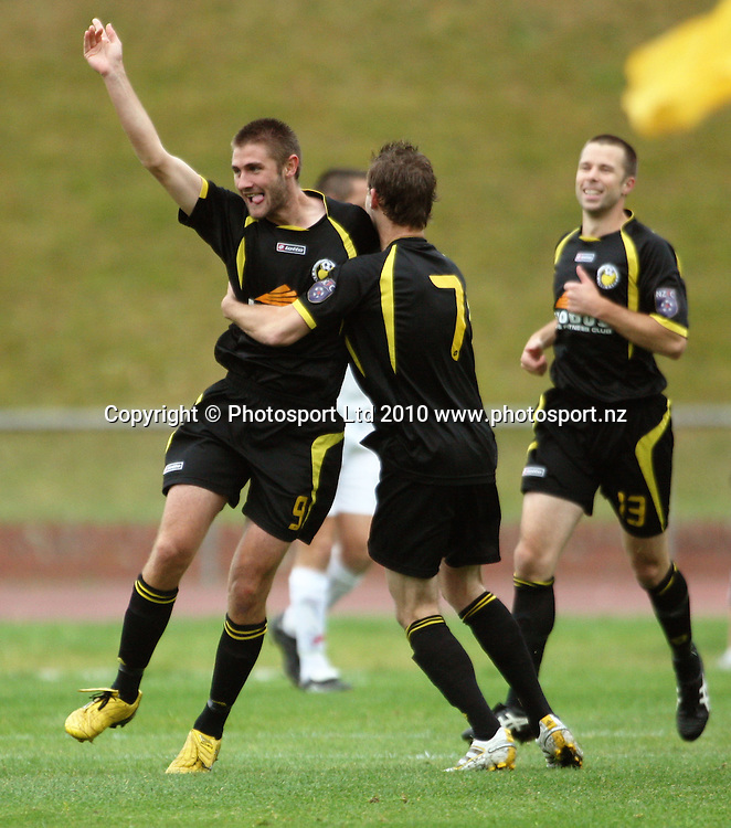 Wellington's Greg Draper celebrates scoring the first goal.<br /> NZFC soccer  - Team Wellington v Waitakere United at Newtown Park, Wellington. Sunday, 4 April 2010. Photo: Dave Lintott/PHOTOSPORT