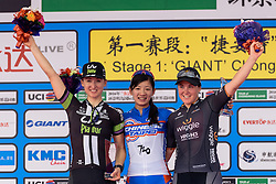 Top three on stage one: Tingy Huang, Leah Kirchmann and Chloe Hosking - Tour of Chongming Island 2016 - Stage 1. A 139.8km road race on Chongming Island, China on May 6th 2016.