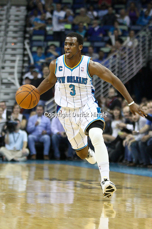 April 6, 2011; New Orleans, LA, USA; New Orleans Hornets point guard Chris Paul (3) against the Houston Rockets during the first half at the New Orleans Arena.   Mandatory Credit: Derick E. Hingle-US PRESSWIRE