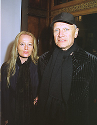 MISS CLARA FISCHER and actor STEVEN BERKOFF, at an exhibition in London on 16th February 1999.MOJ 16