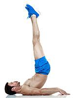 one caucasian man  exercising fitness  crunches exercises isolated on white background