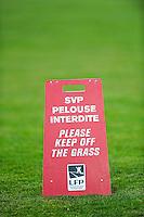 Illustration pelouse interdite  - 04.03.2015 - Evian Thonon / Lorient - Match en retard de la 26eme journee de Ligue 1 <br />Photo : Jean Paul Thomas / Icon Sport