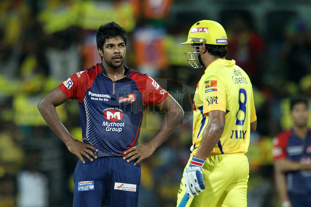 Varun Aaron srates at Murali Vijay after he is put away for six during match 59 of the the Indian Premier League ( IPL) 2012  between The Chennai Superkings and the Delhi Daredevils held at the M. A. Chidambaram Stadium, Chennai on the 12th May 2012..Photo by Ron Gaunt/IPL/SPORTZPICS