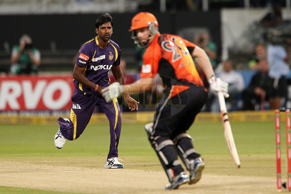 L Balaji  reacts after bowling during match 9 of the Karbonn Smart CLT20 South Africa between The Kolkata Knight Riders and The Perth Scorchers held at Kingsmead Park in Durban, South Africa on the 17th October 2012..Photo by Ron Gaunt/SPORTZPICS/CLT20