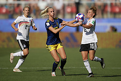 June 29, 2019 - Rennes, France - Sofia Jakobsson (Montpellier HSC) of Sweden and Linda Dallmann (Sgs Essen) of Germany competes for the ball during the 2019 FIFA Women's World Cup France Quarter Final match between Germany and Sweden at Roazhon Park on June 29, 2019 in Rennes, France. (Credit Image: © Jose Breton/NurPhoto via ZUMA Press)