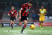 Morecambe Striker Shaun Miller during the Sky Bet League 2 match between Morecambe and Yeovil Town at the Globe Arena, Morecambe, England on 16 January 2016. Photo by Pete Burns.