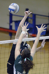 27 October 2006: Haleigh Spencer strikes the ball past Melissa Serritella. The Bears won the match 3 games to 1. &#xD;The match between the Washington University Bears and the Illinois Wesleyan Titans took place at Shirk Center on the IWU campus in Bloomington Illinois.<br />
