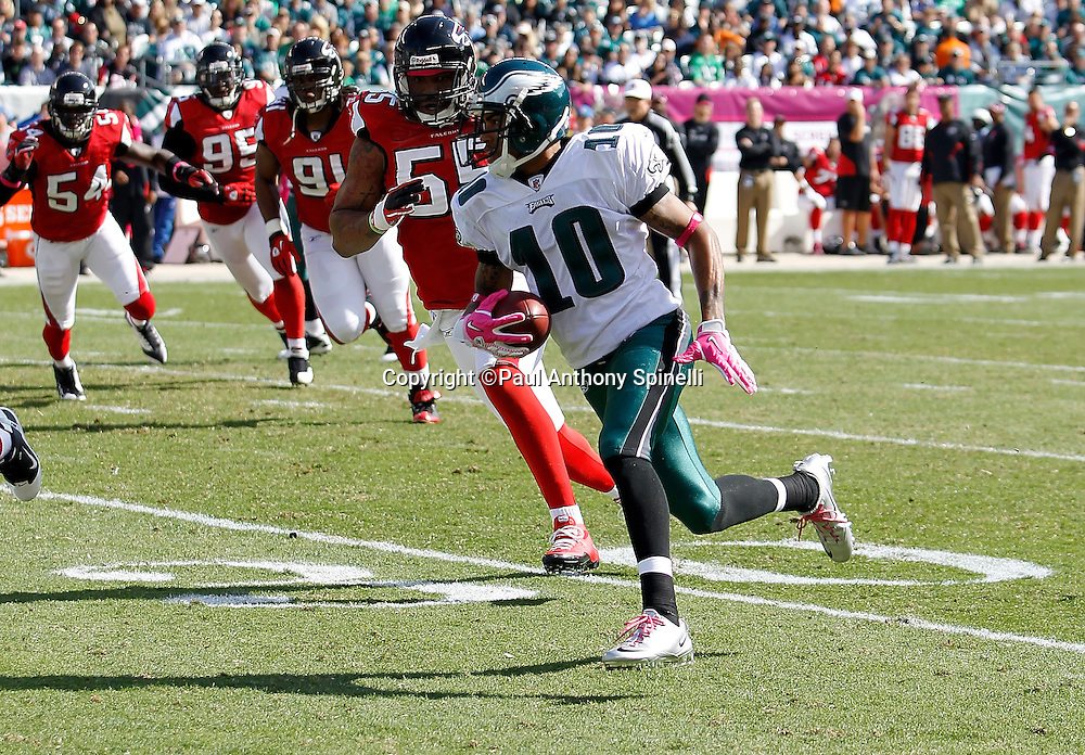 Philadelphia Eagles wide receiver DeSean Jackson (10) runs for a 31 yard touchdown that gives the Eagles a 7-0 first quarter lead during the NFL week 6 football game against the Atlanta Falcons on Sunday, October 17, 2010 in Philadelphia, Pennsylvania. The Eagles won the game 31-17. (©Paul Anthony Spinelli)