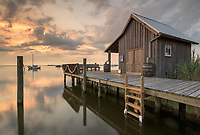 A replica fisherman's net house stands along the waterfront in Manteo's downtown to represent the rich maritime history of the Outer Banks.  Shallowbag Bay is one of my favorite places to hang around when I see a weather forecast calling for calm conditions; the reflections are ample and the opportunities plentiful.