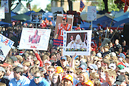 Ole Miss fans hold signs during ESPN's College Gamday in the Grove in Oxford, Miss. on Saturday, October 4, 2014. The broadcast was ESPN College Gameday's first ever from Ole Miss.