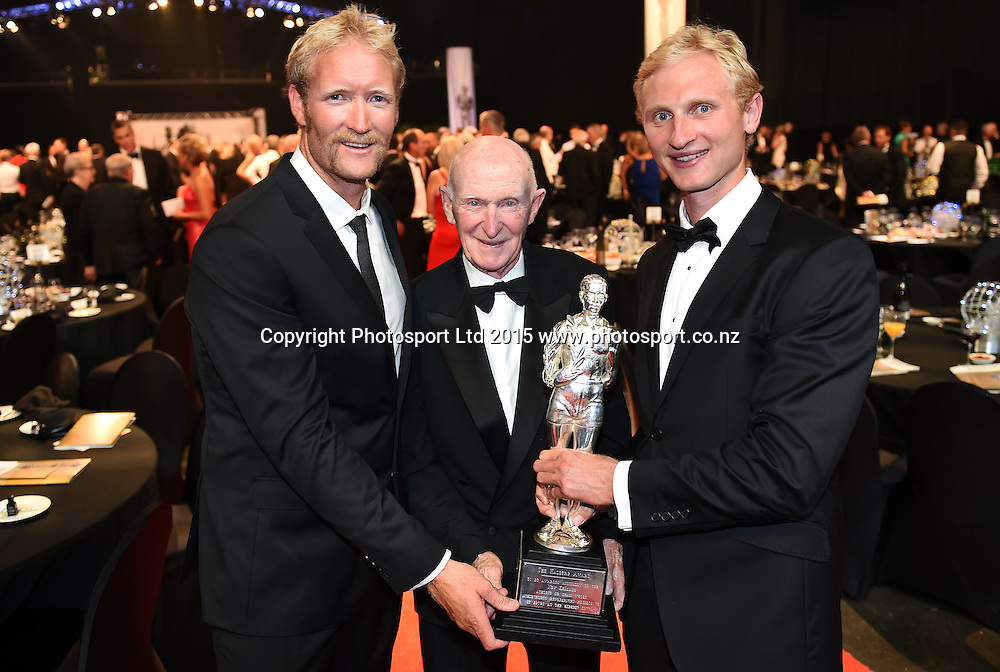 Rowers Hamish Bond and Eric Murray win the overall Supreme Halberg Award with Sir Murray Halberg at the 52nd Halberg Awards. Halberg Disability Sport Foundation. Vector Arena, Auckland, New Zealand. Wednesday 11 February 2015. Copyright Photo: Andrew Cornaga / www.photosport.co.nz