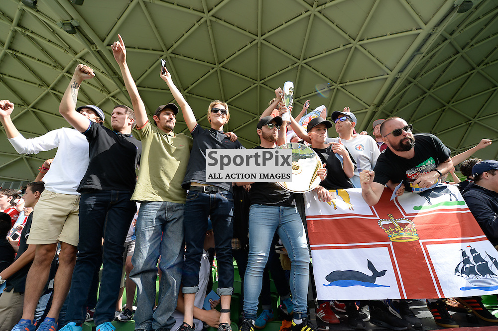 Fans with the Premiers plate at the end of the Westfield W-League 2015/16 Grand Final. Melbourne City FC Women v Sydney FC Women at Aami Park on January 31st 2016 - © Mark Avellino | SportPix.org.uk Victory to Melbourne City 4:1