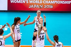 16-10-2018 JPN: World Championship Volleyball Women day 17, Nagoya<br /> Netherlands - China 1-3 / Anne Buijs #11 of Netherlands, Maret Balkestein-Grothues #6 of Netherlands
