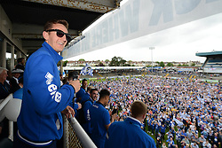Bristol Rovers' Tom Lockyer makes a speech in front of the fans - Photo mandatory by-line: Dougie Allward/JMP - Mobile: 07966 386802 - 25/05/2015 - SPORT - Football - Bristol - Bristol Rovers Bus Tour