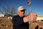 Glenn Spencer of the American Border Patrol, Hereford, Arizona, USA, monitors activity along the U.S./Mexico border.