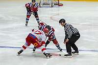 2020-01-19 | Umeå, Sweden: Referee drops the puck in AllEttan during the game  between Teg and Vallentuna at A3 Arena ( Photo by: Michael Lundström | Swe Press Photo )<br /> <br /> Keywords: Umeå, Hockey, AllEttan, A3 Arena, Teg, Vallentuna, mltv200119