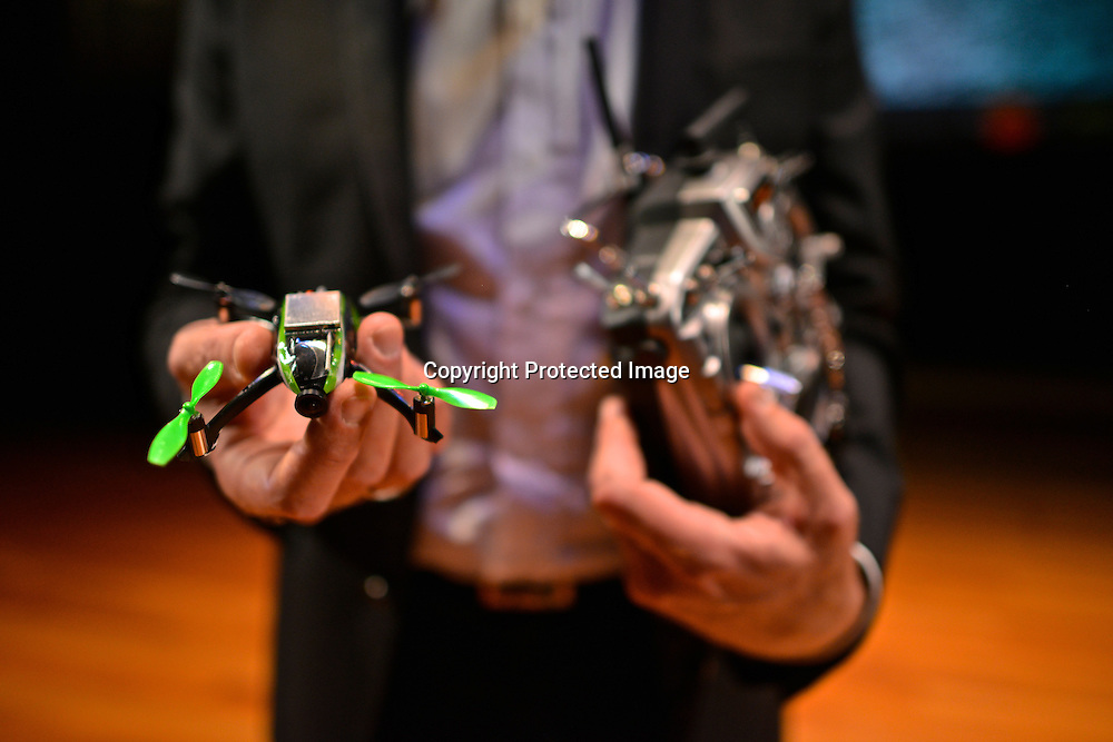 Eirik Solheim, from the Norweigan Broadcasting Corporation,  flying a miniature quadcopter using First-person view (FPV), also known as remote-person view (RPV) at the Drones and Aerial Robotics Conference (DARC), held at New York University.