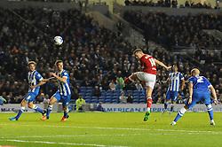 Aaron Wilbraham of Bristol City takes a shot at goal - Mandatory byline: Dougie Allward/JMP - 07966 386802 - 20/10/2015 - FOOTBALL - American Express Community Stadium - Brighton, England - Brighton v Bristol City - Sky Bet Championship