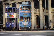 Hong Kong. tramways in Admiralty (Victoria island)  in front of the parliament (Legco)        / tramways dans  - Admiralty  -  devant le Legco (parlement);         / R00092/14    L0007247  /  P0001841
