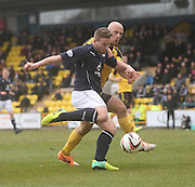 Livingston's Simon Mensing can't stop Dundee's Steven Doris getting in a shot - Livingston v Dundee - SPFL Championship at Almondvale <br />  - &copy; David Young - www.davidyoungphoto.co.uk - email: davidyoungphoto@gmail.com