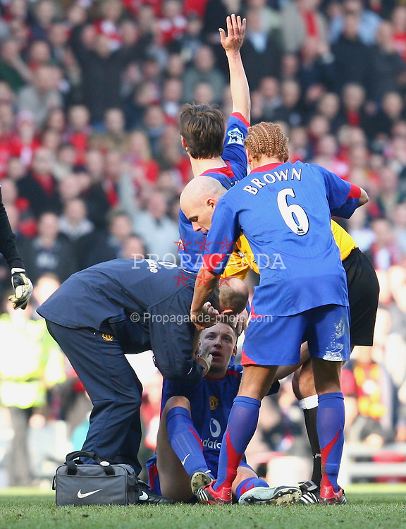 LIVERPOOL, ENGLAND - SATURDAY, FEBRUARY 18th, 2006: Manchester United's Alan Smith lies on the pitch injured with a broken leg during the FA Cup 5th Round match against Liverpool at Anfield. (Pic by David Rawcliffe/Propaganda)